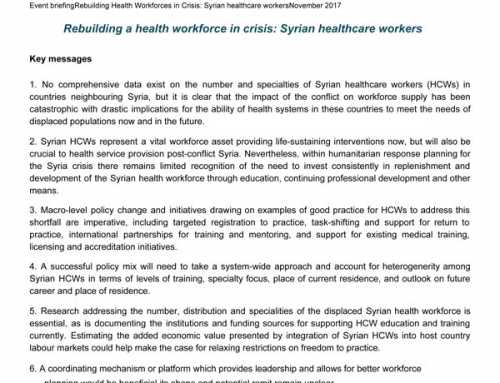 Rebuilding a health workforce in crisis: Syrian healthcare workers