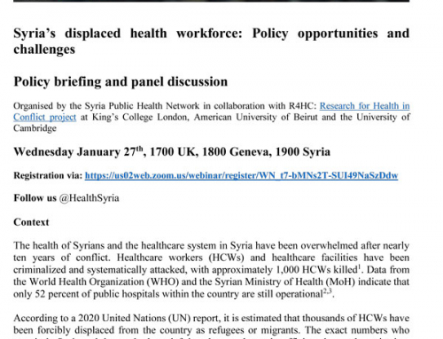 Syria's displaced health workforce: Policy opportunities and challenges