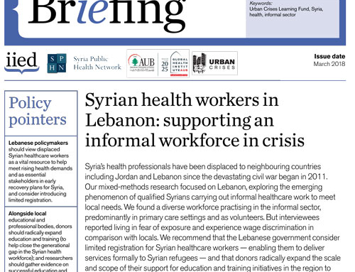 Syrian health workers in Lebanon: supporting an informal workforce in crisis
